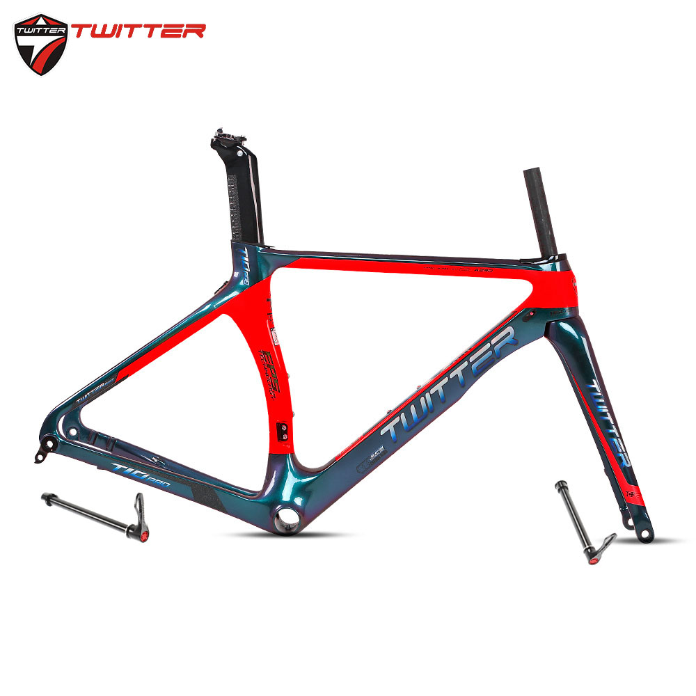 Twitter T10pro Disc Discolored 700C Road Bike Carbon Frame 18K Disc Brake Thru Axle F12*100mm R12*142mm Come With Carbon Fork