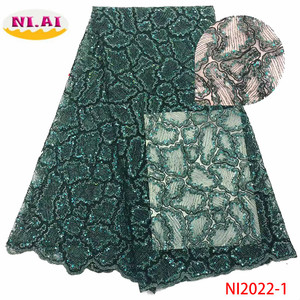 NIAI African Sequins Lace Fabrics 2020 High Quality French Lace Fabric Nigerian Tulle Lace Fabrics For Wedding Dress NI2022-1