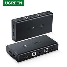 UGREEN KVM переключатель 2 в 4 выхода HDMI, коммутатор, коробка обмена usb хаб с 3 режимами переключения для принтера клавиатуры ноутбука KVM HDMI