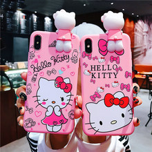 Lembut Silikon Merah Muda Boneka Back Cover untuk Coque iPhone 11 11pro 11pro Max Indah Hello Kitty Phone Case untuk iPhone X XS Max(China)