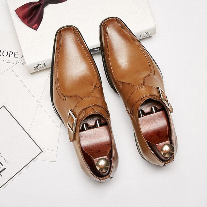 Véritable cuir de vache hommes chaussures formelles social de haute qualité designer élégant classique luxe hommes oxford chaussures # KB1229-2