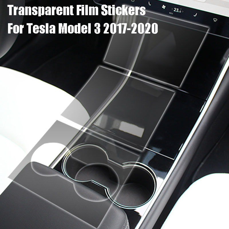 For Tesla Model 3 2017-2020 Center Console Protective Film Transparent Film Stickers 3Pcs