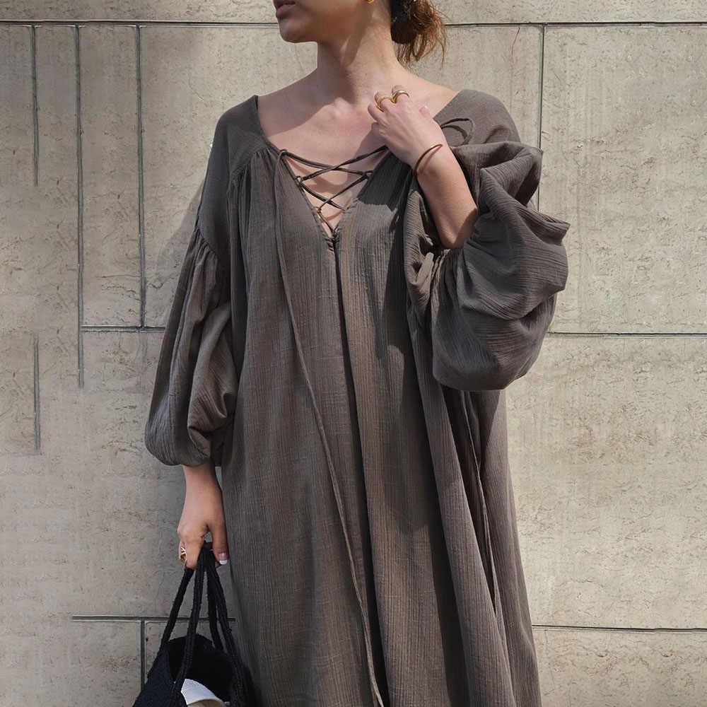 Kleider Frauen 2020 Sommer Pullover Blase Ärmeln Hohl Backless Casual Einfache Urlaub Kleider Mode Dame Büro 2020 Herbst