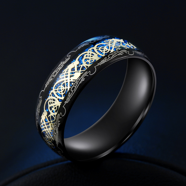 2020 New Arrive Fashion 316L Stainless Steel Golden Dragon Man's Ring Blu-ray Simple Fashion High Quality Jewelry