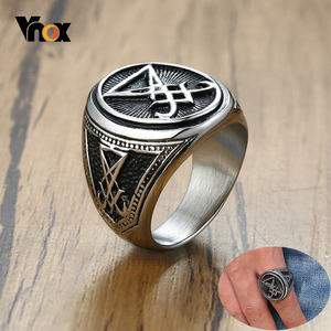 Vnox Mens Vintage Lucifer Ring Rock Punk Black Stainless Steel Male Party Gifts Jewelry