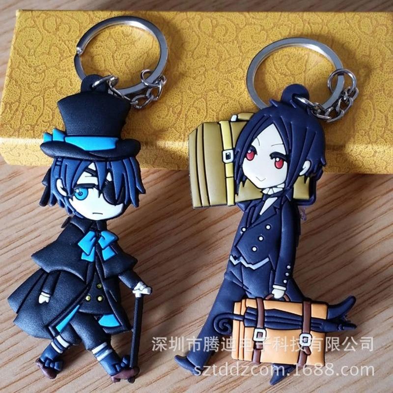 Black Butler Japanese Cartoon PVC Keychain Ciel Phantomhive Sebastian Michaelis Anime Double-sided Soft Rubber Keyring Llaveros