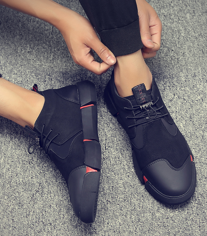 H2e81e34e7a384026a24462bb2403ae4ed Shoes Men Black Autumn Winter Plush Keep Warm Men Casual Shoes Leather Breathable Fashion Men Shoes High Quality
