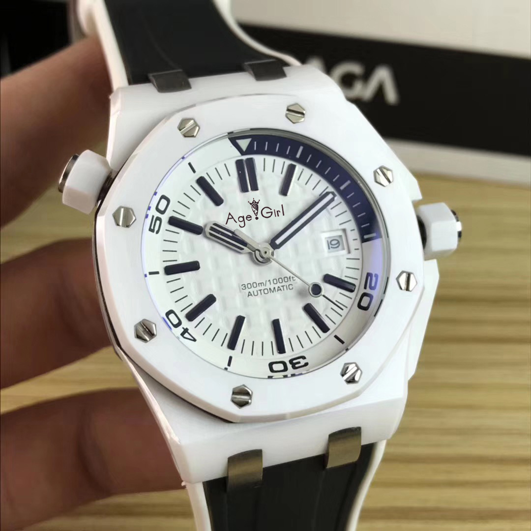 Luxury Brand New Men Stainless Steel Automatic Mechanical Diver Sapphire White Ceramic Watches Black Rubber Royal Oaks ETA3120
