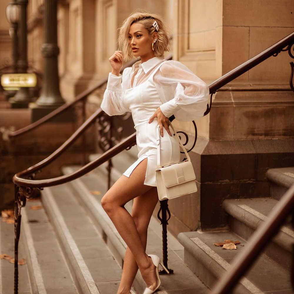 WannaThis manches bouffantes Sexy robes de soirée col en v blanc à manches longues mode automne hiver 2019 Skinny élégant Split Mini robes