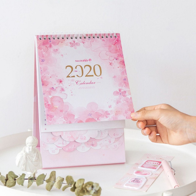 2020 Dreamy Watercolor Series Desktop Calendar DIY Note Memo Coil Calendars Daily Schedule Planner 2019.10-2020.12 2
