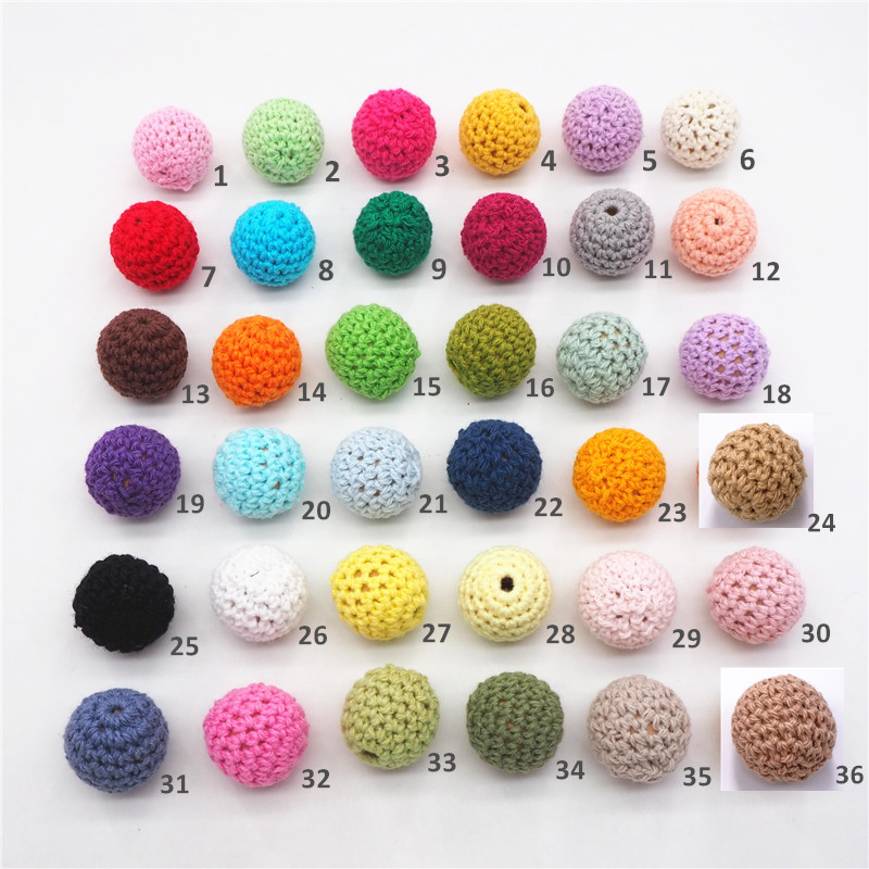 Chenkai 50pcs 20mm Round Knitting Cotton Crochet Wooden Beads Balls For DIY Decoration Baby Teether Jewelry Necklace Toy