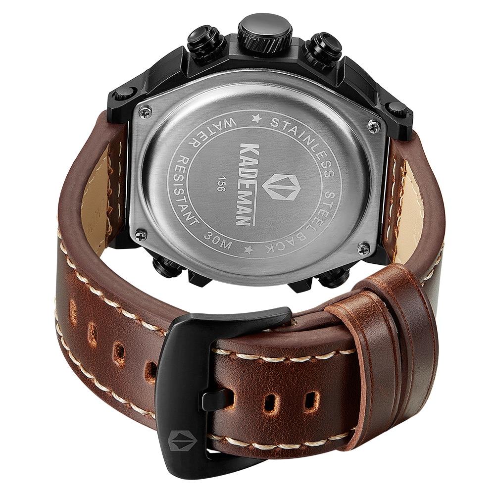 KADEMAN Montre Homme повседневные мужские наручные часы несколько часовых поясов двойные военные часы Неделя кожаный ремень Relojes Para Hombre подарок - 5