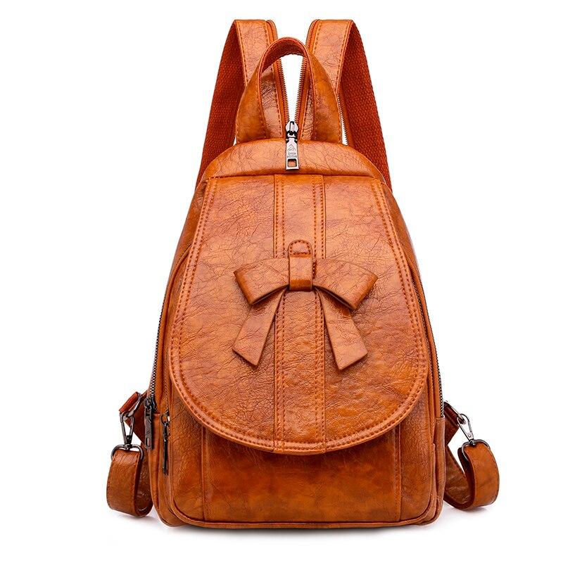 Women Leather Backpacks High Quality Ladies Vintage Back Pack Sac A Dos Female Bagpack Solid Travel Rucksacks For Girls Mochilas