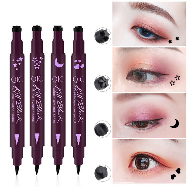 2 In 1 Liquid Glitter Eyeliner with Eyeliner Stamp Thin Wing Seal Makeup Black Brown Smoky Eyes Liner Pencil