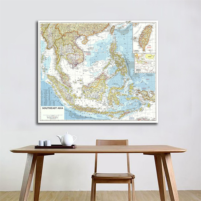150*150cm Large World Map Detailed Southeast Asia 1955 Poster Wall Chart Retro Paper Kraft Paper Map Of World Office Supplies