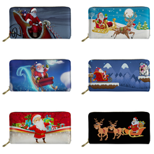 FORUDESIGNS Merry Christmas Print Women PU Wallets Leather Female Purse Card Holder Passport Cover Lady Phone Packet Money Bags