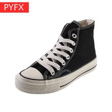 2019 new autumn Korean fashion casual classic high-top flat black platform women's canvas shoes Lace-up Round Toe Young Sneakers цена 2017