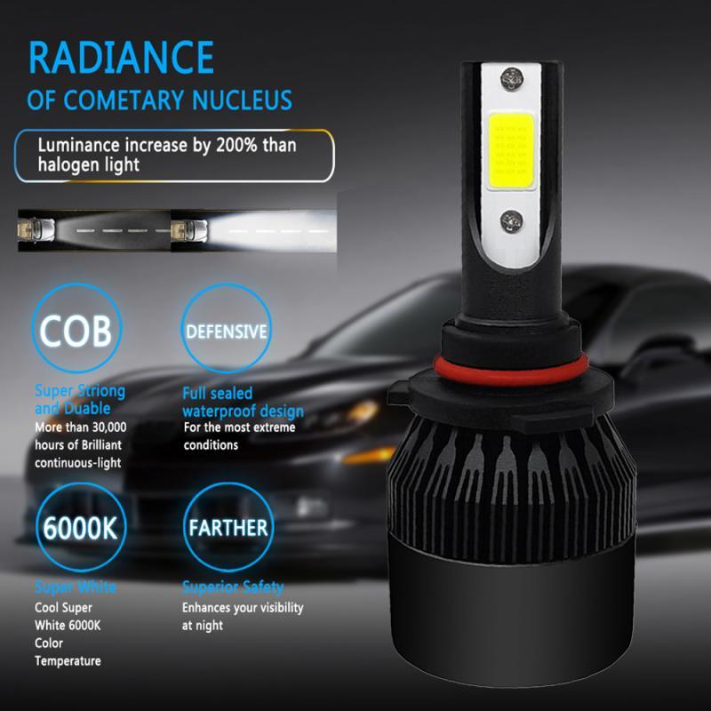 1pc COB 9005/9006 HB4/H4/9003/HB2 Hi/Lo/H1/H11 Car LED HeadLight Bulb 72W 8000LM 6000K White Lamp Black Dropshipping