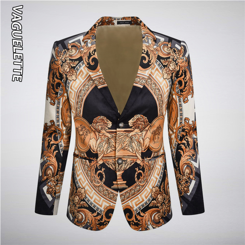 Vaguelette Gold Pattern Suit Blazer Men Jacket Luxury Lion Printed Blazers Fashion Wedding Party Stage Costumes For Singers 4XL
