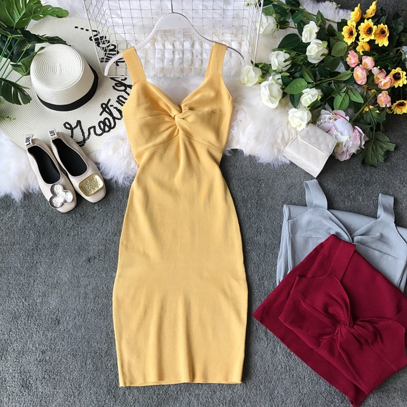 Gagarich Stretch Women Bodycon Dress 2020 Fashion Deep V-neck Solid Elegant Bandage Ladies Dresses Vestidos Robe Femme
