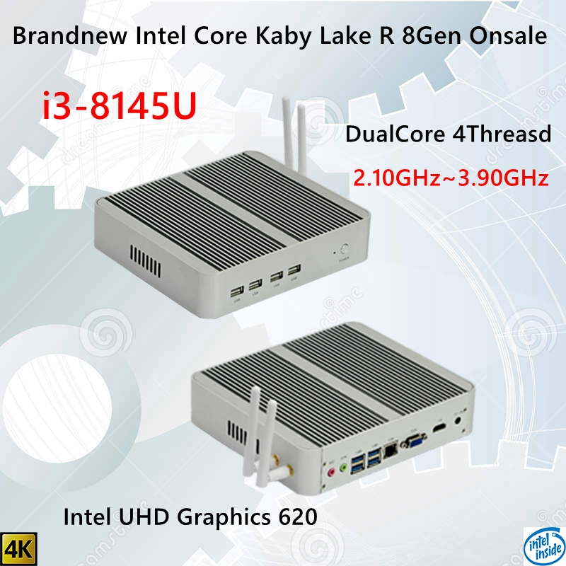 Newest Kaby Lake R 8Gen Fanless Mini Pc I3 8145U Intel UHD 620 Win10 Dual Core 4 Threads DDR4 2400 2666 NUC