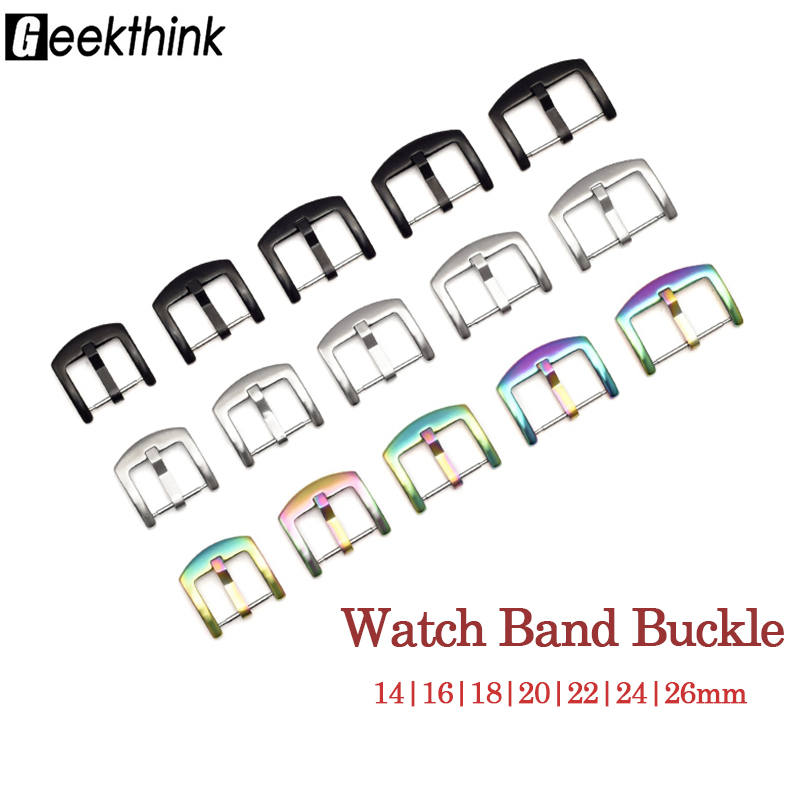 Watch Band Metal Buckle 14 16 18 20 22 24 26mm Universal Watchband Strap Silver Black Color Stainless Steel Clasp Accessories image