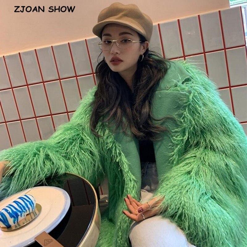 2019 Winter Faux Sheep Fur Jacket 4 Inches Long Hairy Shaggy  Mid Long Outwear Women Keep Warm Long Sleeve Coat Tops Green White