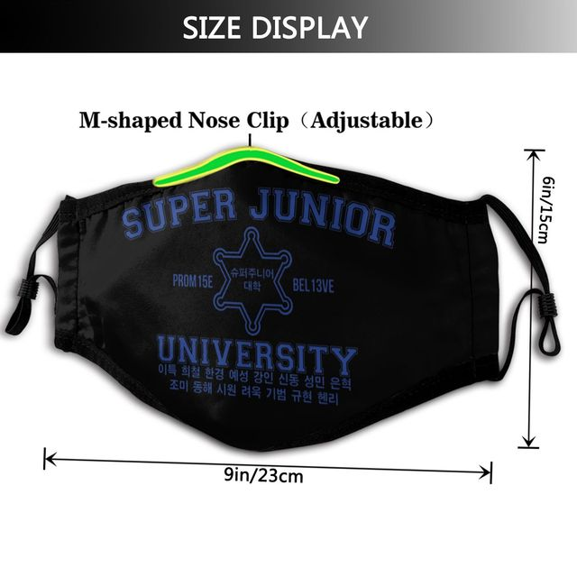 Kpop Super Junior Mouth Face Mask Super Junior University Facial Mask Funny Kawai with 2 Filters for Adult 1