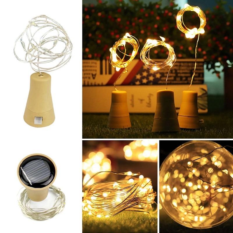 5 Pack Solar Powered Wine Bottle Lights 10 Led Waterproof Warm White Copper Cork Shaped Lights For Wedding Christmas Outdoor H Lighting Strings     - title=