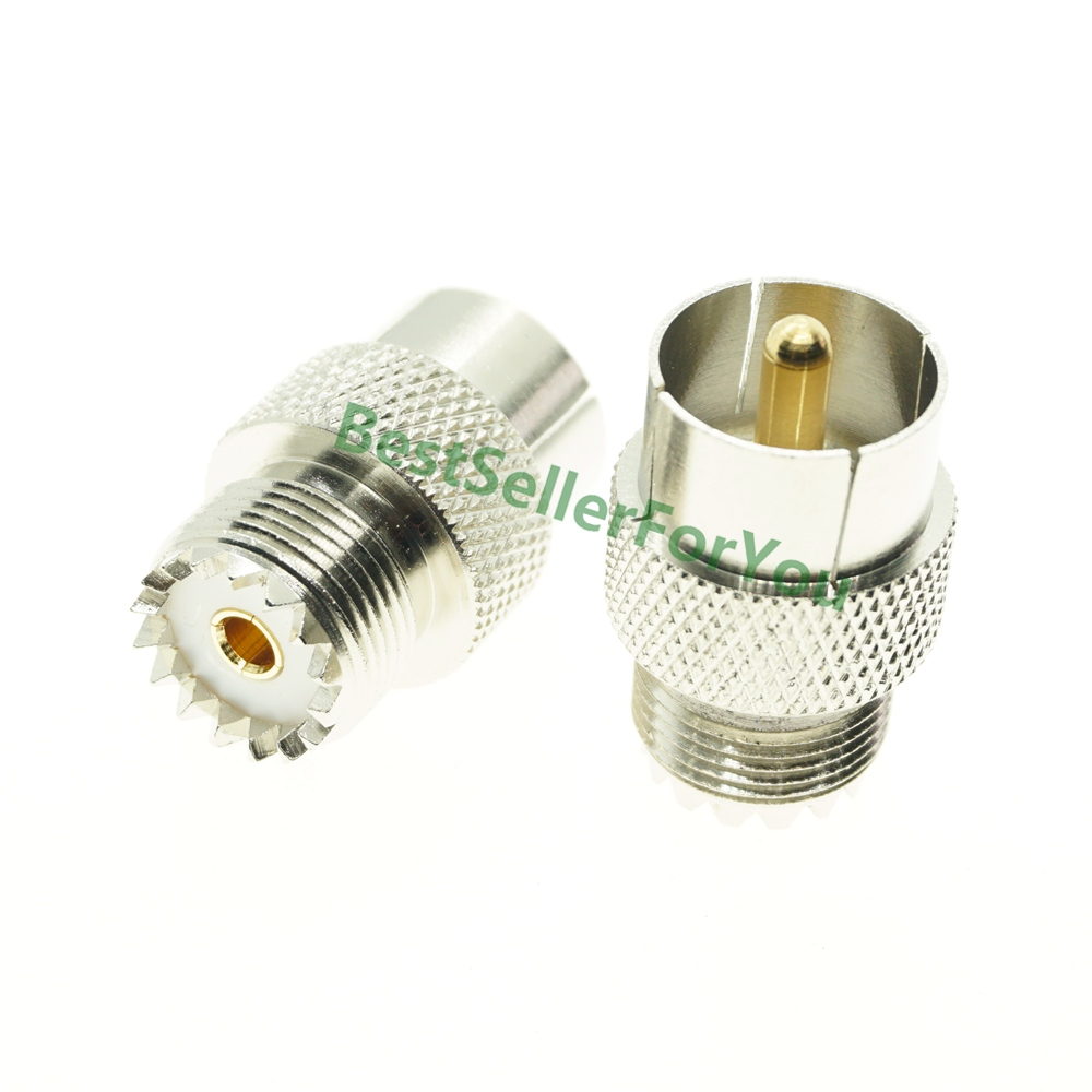 10Pcs Adapter UHF PL-259 Push-On//Quick Male to UHF Female SO-239 Connector