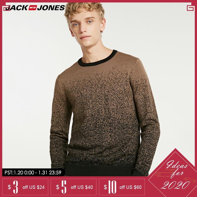 Jack Jones Autumn & Winter Gradient Round Neckline Woolen Pullover Sweater  218424511