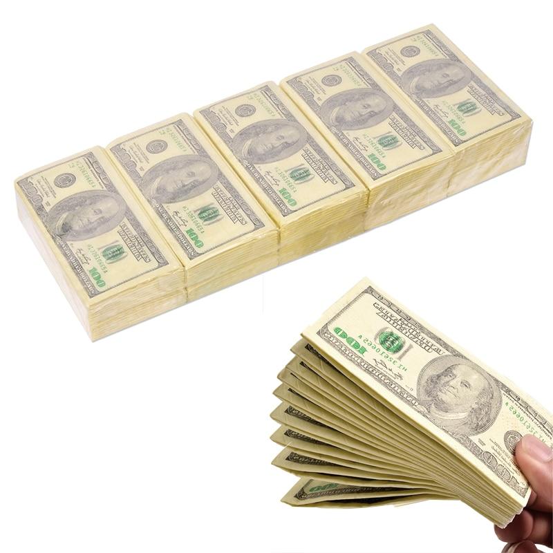 10 Pcs/Set Creative 100 Dollar Toilet Tissue Thick 3 Layers Paper Napkin Money Pocket Natural Comfort Popular Party Supplies
