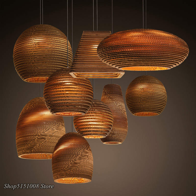 Chinese paper honeycomb pendant lights cardboard personalized living room Dining Room clothing Hanging Lamp Home Decor Luminaire
