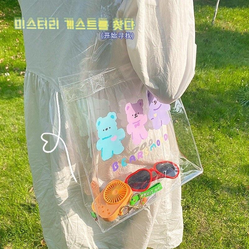 Women Cartoon Bear Transparent Handbag INS Popular Designer Casual Tote Lady Large Capacity Handle Bag Travel Shopping Package