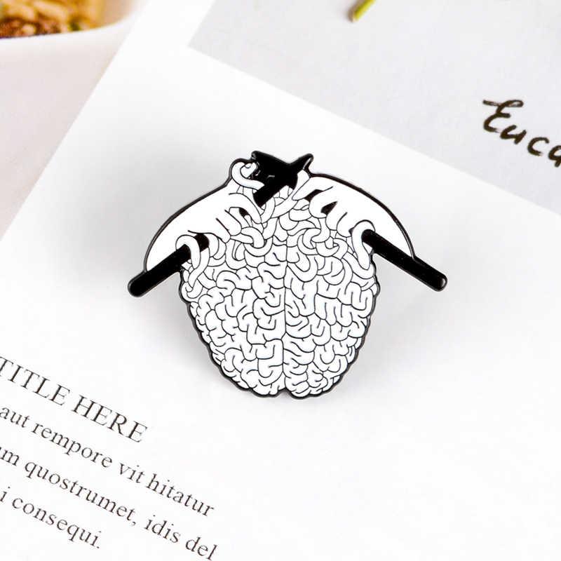 Qihe Perhiasan Organ Otak Enamel Pin Buatan Tangan Merajut Sweater Pin Feminis Enamel Pin Ibu Rumah Tangga Kerah Pin Hadiah untuk Wanita Hadiah