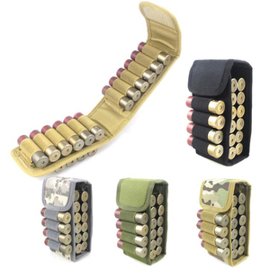 Tactical 12GA Shotgun Bullet Pouch Portable Molle 16 Shells Buttstock Holder Magazine Cartridge Airsoft Ammo Carrier for Hunting