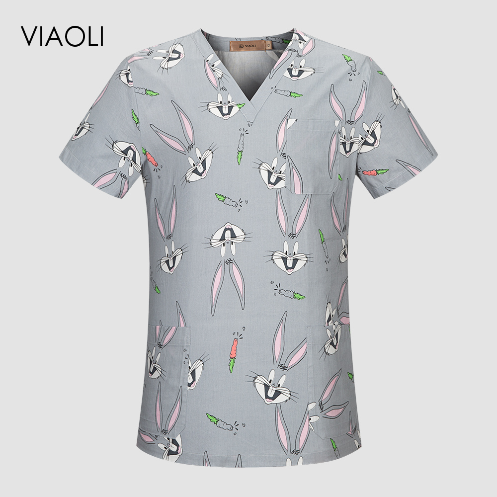New Surgery Clothes Summer Short Sleeve Surgical Clothing Men And Women Doctor Wash Nurse Uniforms Top Dentist Clothes Top