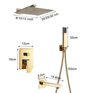 Image 5 - Kit de torneira para banheiro, kit de chuveiro dourado de 8/20/22 polegadas, chuveiro quadrado, torneira, montagem na parede, torneira do banheiro, oculto, misturador torneira banheira
