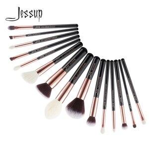 Jessup brushes makeup brush set 15pcs Black/Rose gold Goat-Synthetic Hair pincel maquiagem Foundation Powder Definer Shader T160(China)