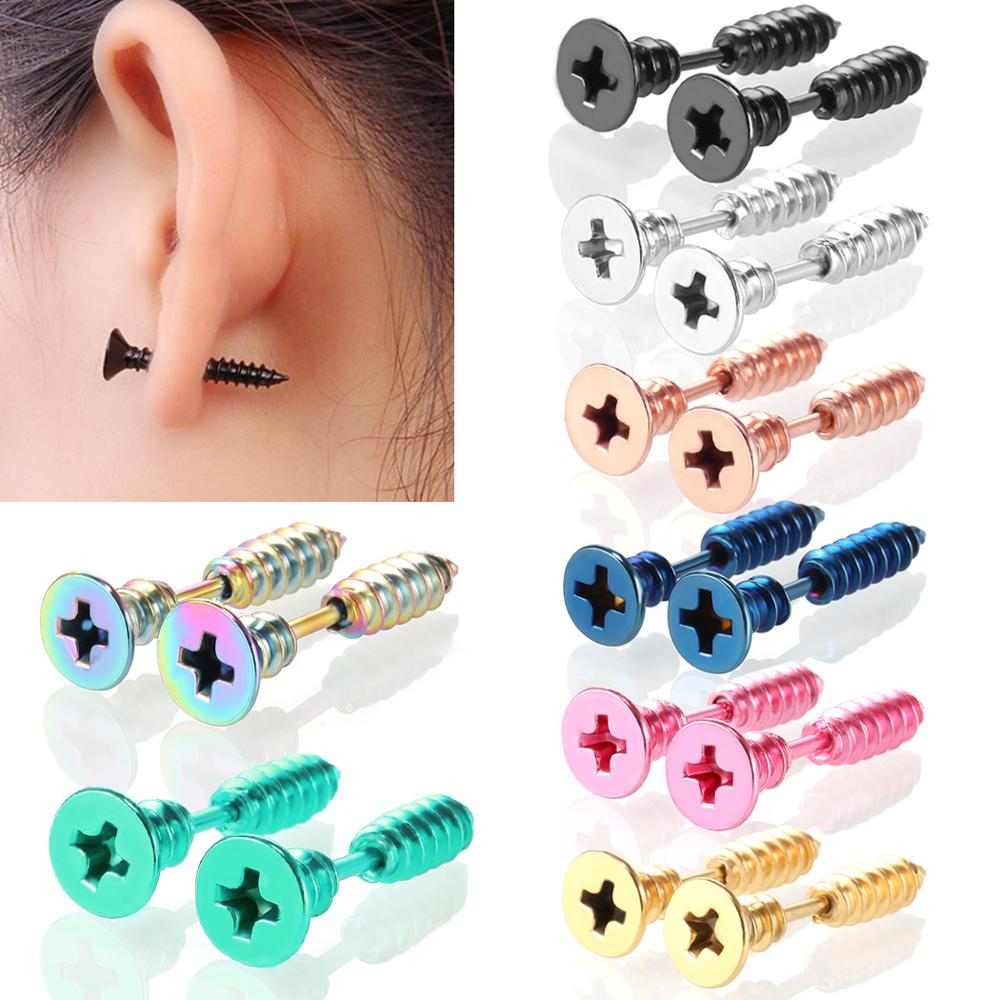 2PC Punk Men & Women Stud Earring Anti Allergic Stainless Steel Body Piercing Fashion Whole Screw Stud Earrings Funny Jewelry
