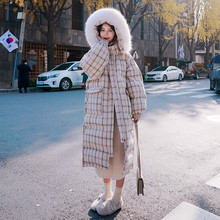 Women Jacket Parka-Coat Plaid Long Hooded Faux-Sweater-Collar Warm Thick Cotton Winter
