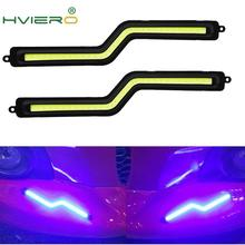 цена на 2pcs LED COB daytime running lights White Blue Crystal-blue  Z Shape Car Auto DRL Driving Daytime Running Lamp Fog Light DC 12V