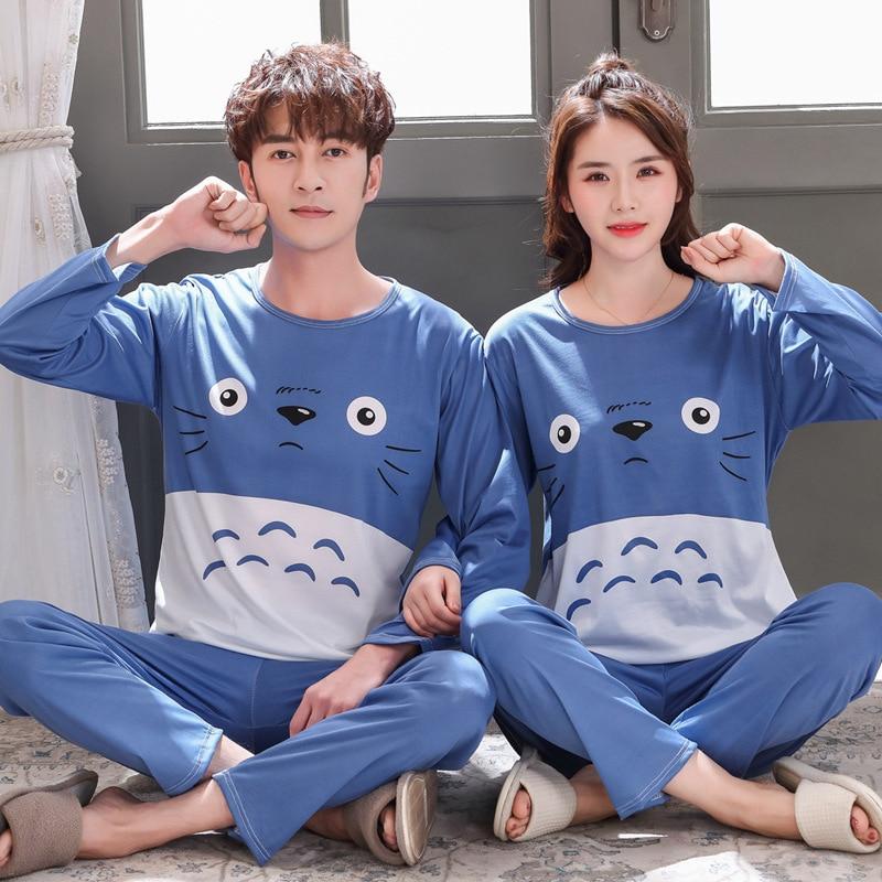 Long-sleeved Autumn Pyjama Loose Men Style Couple Pijama Set Sleepwear Top+ Pants Young Lovers Pajamas Sets Women Nightwear Slee