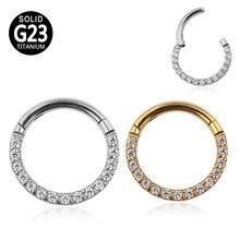 G23 orecchini in titanio Daith Hoop CZ segmento incernierato Clicker Nose Ring capezzolo orecchio cartilagine Tragus Lip Stud Piercing gioielli per il corpo