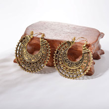 Vintage Antique Ethnic Dangle Earrings For Women Geometric Round Hollow-out Alloy Drop Earring Fashion Female Accessories 2019 цены онлайн