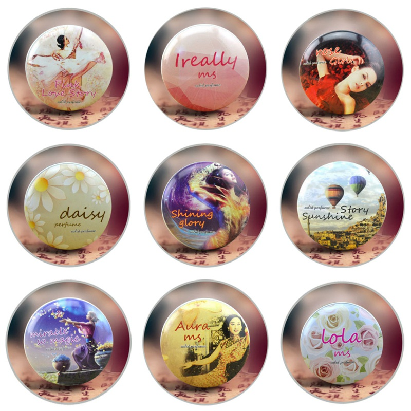 1PC 15g Solid Perfume For Men Women Floral Portable Round Box Solid Perfume Balm Body Fragrance Skin Care Essential Oil