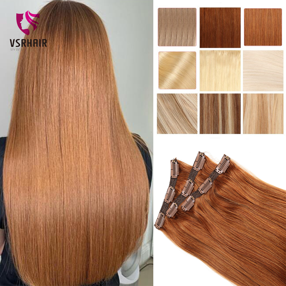VSR Human 3 Pcs Clip Hair Extension Machine Made Remy Hair Straight 50g 60g 70g 100g 120g Hair Clips Color #27 #30 #613