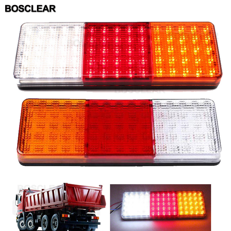 2pcs 75 LED 12V 24V Tail Light Waterproof Car Truck Trailer Camper Van Stop Brake Rear Reverse Indicator Lights Turn Signal Lamp image