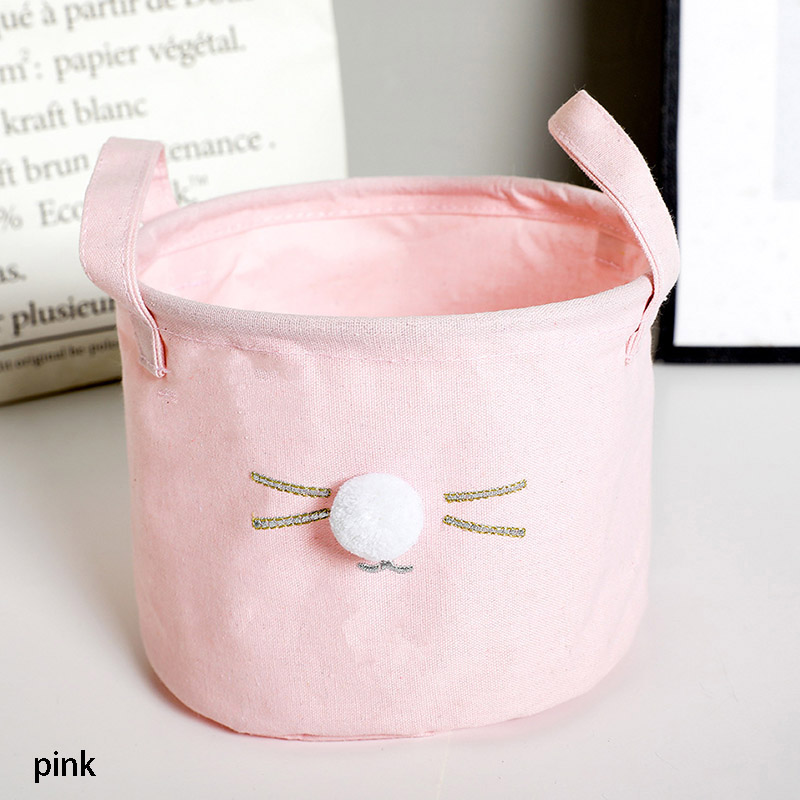 1PC Desk Sundries Storage Basket With Handle Lovely Cotton Hemp Cosmetic Makeup Organizer Bucket 4 Colors Choice 20*15CM