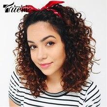 Trueme-Peluca de encaje frontal con ondas rizadas, pelo humano corto brasileño, 14 pulgadas, marrón, Rojo